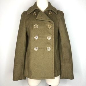 Marc Jacobs Wool Military Olive Green Pea Coat